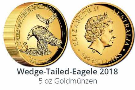 Wedge Tailed Eagle 5 oz Gold High Relief